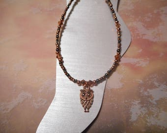 Copper Owl Ankle Bracelet