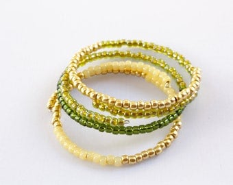 Yellow Peridot Beaded Bangle Bracelets, Set of Three, Glass Beaded Bracelets, Summer Bangles, Ready to Ship
