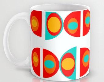 Retro Mug, Modern Mug,  Retro Kitchen, Groovy Mug, Mid Century Modern Mug, Cool Mug, Retro Ceramic Mug, Retro Coffee Mug, Mid Century Mug