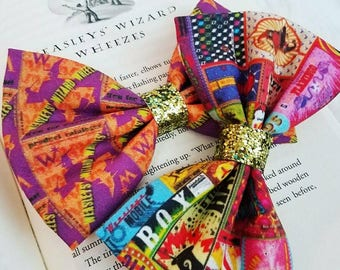 Weasley's Wizard Wheezes // Diagon Alley // Harry Potter Glitter Fabric Hair Bow for Adults, Kids, Cosplay