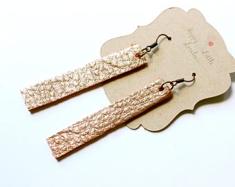 Rose gold leather earrings, gold leather earrings, rectangle earrings