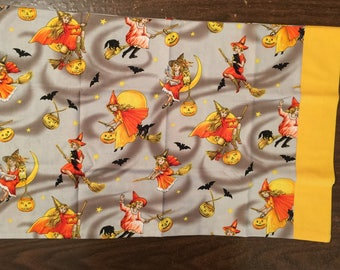 Halloween travel pillow case/toddler pillow case Trick or Treat Bag 100% cotton Cute Halloween Witches