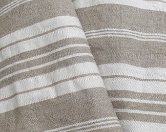 Bolt of Vintage French 1930s Ticking Fabric Woven Herringbone Striped Buff Beige Ecru