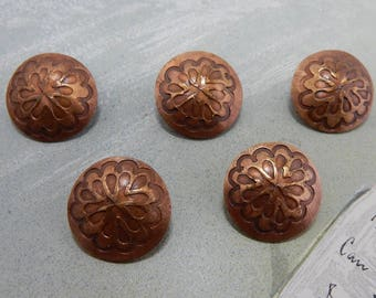 Set of 5 Copper Southwestern Concho Style Buttons Made from Pennies    OBL8