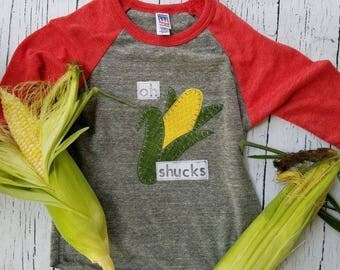 Oh shucks, Nebraska corn shirt, baby, Nebraska kid corn shirt, Nebraska baby corn shirt, farmer market