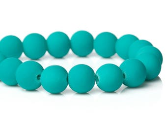 """42 Beads - 10mm Aqua Blue Green Rubberized Glass Round Beads - 16"""" strand - Approx 42 beads per strand - Hole Size: 1.2mm"""