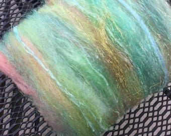 Mini fiber art batt, spinning, felting, 1ounce, MERMAID, fiber arts