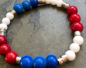 4th of July bracelets, something red, white and blue, Semi-precious stretch bracelets, Jewelry with a purpose, Everyday and unisex bracelets