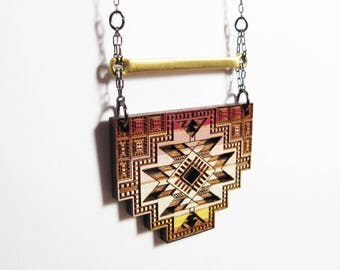 Statement Necklace, Wood, Morocco, Essaouira, Stepped Rectangle, Brass