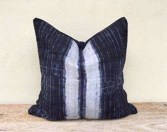 "Vintage Homespun Hemp Batik Hand Woven Pillow Case 20"" x 20""  Pieces Of Tribal Costume"