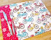 Quilted Placemats, Bicycle Placemats, Bicycle Decor, White Placemats, Bike Decor, Fabric Placemats, Cycling Gift, Cycling Decor
