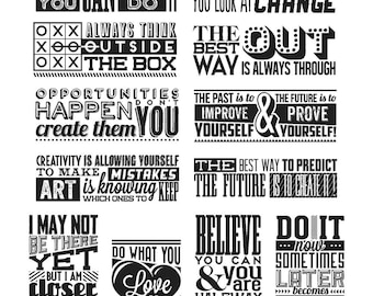 Tim Holtz Mini Motivation Stamp Set - Stampers Anonymous Quotes Cling Stamps