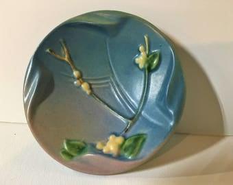 Roseville Snowberry Blue Dish Ashtray Vintage Pottery