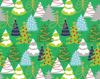 Snowflake Waltz - Grand Firs in Green by Maude Asbury for Blend Fabrics