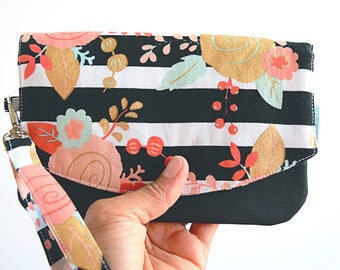 Smartphone Wristlet Wallet - Cell Phone Wallet Clutch - Travel Purse - Birthday Gift for Her - Floral Purse - Ready to Ship - Zookaboo