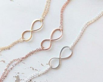 Bridesmaids Infinity Bracelets, Gift Set of TEN, 10 Sterling Silver, Rose Gold, Gold Fill Dainty Bracelets, Delicate Bridesmaid Jewelry
