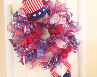 4th of July Wreath - Uncle Sam Patriotic - Independence Day Door Hanger Wall Decor