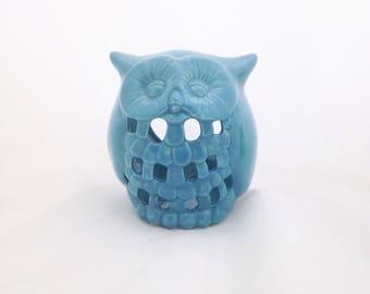 Aqua Blue Ceramic Owl Candle Tealight Votive Holder - Turquoise Owl Ceramic