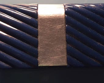 1960s Lipstick Holder with Mirror and Light Navy Blue Plastic