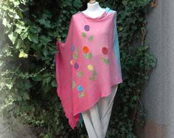 LINEN PONCHO Pink Turquoise Delicate  Sunny Hand-Dyed  Knitted Poncho  Appliques Eco Friendly Natural Clothing Plus Size