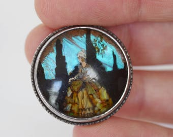 "Art Deco Era 1930s Butterfly Wing ""Crinoline Lady"" Brooch | Sterling Silver | Crushed Opal"