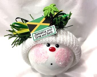 JAMAICA SOUVENIR Christmas Ornaments Jamaican Flag Palm Tree Hand Painted Handmade Personalized Themed Townsend Custom Gifts