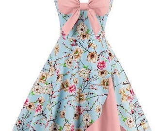 Blue Pink Floral Halter Swing Retro Rockabilly Dress