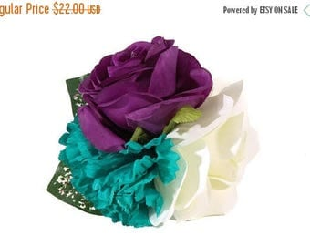 FLASH SALE Purple Ranunculus, Ivory Rose and Teal Chrysanthemum Pinup Hair Flower Fascinator Clip with Green and Pink Leaves