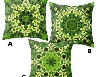 Mandala throw pillow covers, Baptisia, false indigo, yellow, green, floral kaleidoscope, nature inspired home decor, living room, bedroom