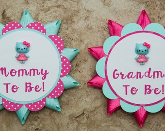 Hello Kitty Name Tag Button Pin  For Baby Shower Or Party