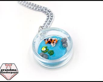 Koi Pond Necklace, Handmade, Tiny Koi Pond Pendant, Fish Jewelry