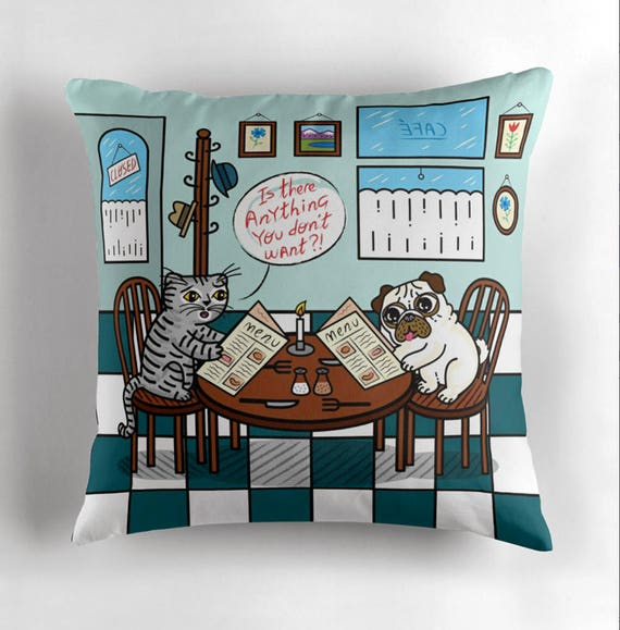 "Is There Anything You Don't Want? - Pug and Cat - Children's Decor - Animal Cushion cover / Throw Pillow cover - (16"" x 16"") by Oliver Lake"