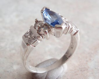 Blue Spinel Ring Clear CZ Sterling Silver Size 7 Vintage CW0042