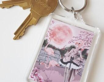 Flamingo Fairy Acrylic Key Chain - Pink Moon
