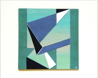 6 x 6 geometric modern art painting, blue icy shards, contemporary wall art