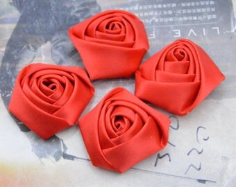 30 roses, satin roses, Red satin rose flowers, satin flowers, fabric flowers, applique rose, handmade ribbon flowers wholesale 45mm