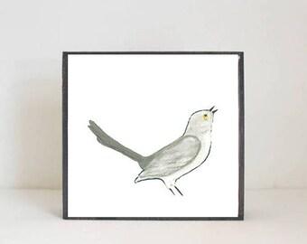 mockingbird southwestern nursery art -bird wall art- animal prints- gender neutral baby-boho southwest nursery- boho, redtilestudio