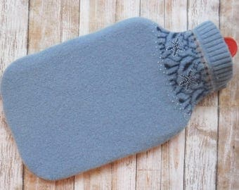 Hot Water Bottle Cover - 100% Wool Felted Upcycled Sweater - Blue Heating Pad - Cozy Eco Friendly Sleeve