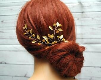 Gold Leaf hair Pins, Bridal Hair Pin, Gold Wedding Headpiece, Gold Hair Pin, Leaf Hair Vine, Flower Hair Pin, Bridal Leaf Headpiece