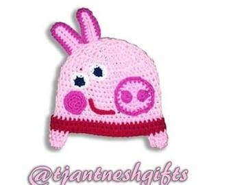 Peppa Pig Inspired crochet hat