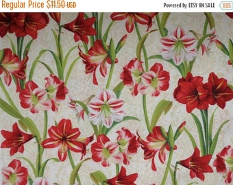 "ON SALE Making Spirits Bright Amaryllis Print Pure Cotton Fabric--58"" wide--One Yard"