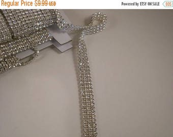 ON SALE REMNANT--Rhinestone Banding Czech Three Row--25 Inches