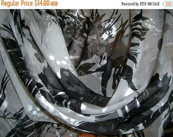 ON SALE SPECIAL--Dramatic Black and White Abstract Print SIlk and Rayon Burnout Fabric--One Yard