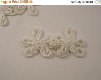 ON SALE Winter White Floral Design Frog Closure--One Set