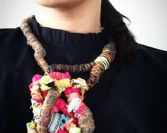 Denim golden Garabato doodle textile contemporary necklace