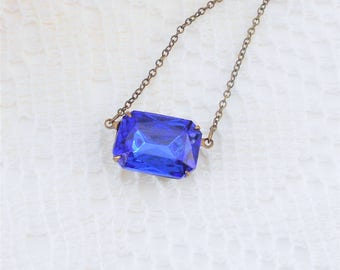 Sapphire Necklace, Blue Pendant Necklace, Art Deco Choker, Art Deco Necklace, Vintage Glass Necklace, Old Hollywood, Estate Jewelry, Choker
