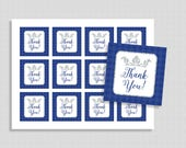 Prince Favor Tags, Royal Blue and Silver Thank You Party Favor Tags, Baby Boy Shower, INSTANT PRINTABLE