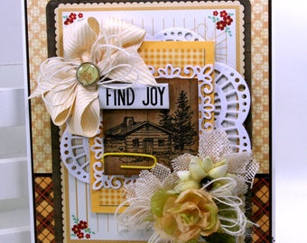 Find Joy Greeting Card All Occasion Polly's Paper Studio Handmade