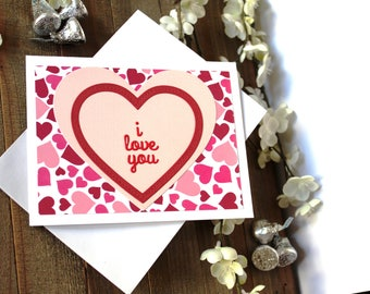 Handmade Valentine's Day Card, Pink and Red Hearts, I Love You, Unique, One of a Kind, Free US Shipping