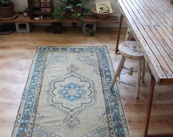 vintage Turkish rug, rustic faded geometric rug, happy worn bohemian turquoise and peach muted colors rug